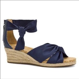 UGG Navy Starla ankle wrap espadrille wedge